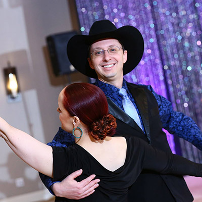 Chris Hennes and instructor Kate Linkous in a dance competition